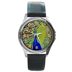 Graphic Painting Of A Peacock Round Metal Watch