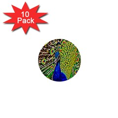 Graphic Painting Of A Peacock 1  Mini Buttons (10 pack)