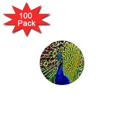 Graphic Painting Of A Peacock 1  Mini Magnets (100 pack)