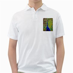 Graphic Painting Of A Peacock Golf Shirts