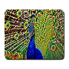Graphic Painting Of A Peacock Large Mousepads