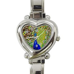 Graphic Painting Of A Peacock Heart Italian Charm Watch