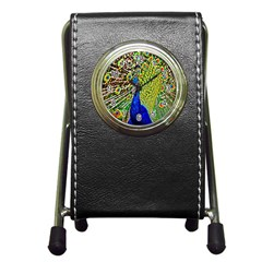 Graphic Painting Of A Peacock Pen Holder Desk Clocks