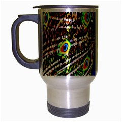 Graphic Painting Of A Peacock Travel Mug (Silver Gray)