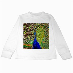 Graphic Painting Of A Peacock Kids Long Sleeve T Shirts