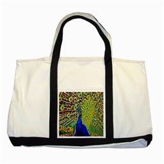 Graphic Painting Of A Peacock Two Tone Tote Bag