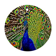 Graphic Painting Of A Peacock Round Ornament (Two Sides)