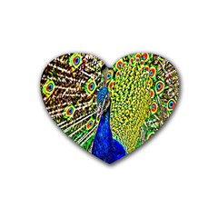 Graphic Painting Of A Peacock Rubber Coaster (heart)