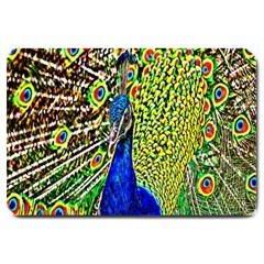 Graphic Painting Of A Peacock Large Doormat