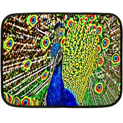 Graphic Painting Of A Peacock Double Sided Fleece Blanket (mini)