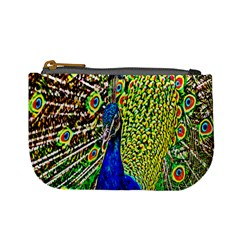 Graphic Painting Of A Peacock Mini Coin Purses