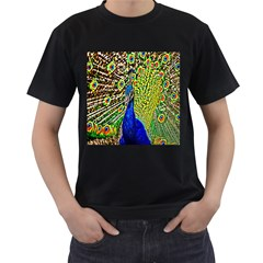 Graphic Painting Of A Peacock Men s T-Shirt (Black)