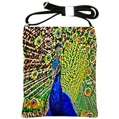 Graphic Painting Of A Peacock Shoulder Sling Bags
