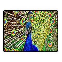 Graphic Painting Of A Peacock Fleece Blanket (Small)