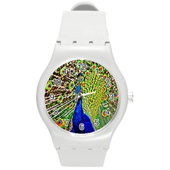 Graphic Painting Of A Peacock Round Plastic Sport Watch (M)