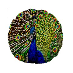 Graphic Painting Of A Peacock Standard 15  Premium Round Cushions