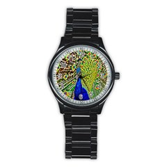 Graphic Painting Of A Peacock Stainless Steel Round Watch