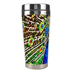 Graphic Painting Of A Peacock Stainless Steel Travel Tumblers