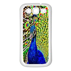 Graphic Painting Of A Peacock Samsung Galaxy S3 Back Case (White)