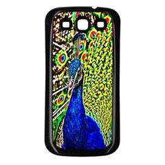 Graphic Painting Of A Peacock Samsung Galaxy S3 Back Case (Black)