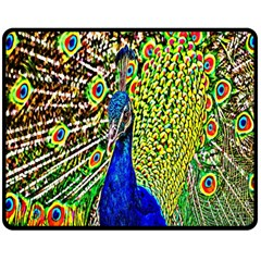 Graphic Painting Of A Peacock Double Sided Fleece Blanket (Medium)