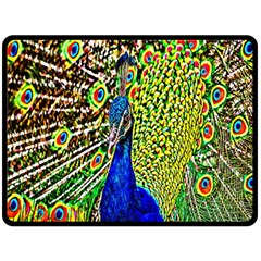Graphic Painting Of A Peacock Double Sided Fleece Blanket (Large)