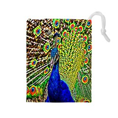 Graphic Painting Of A Peacock Drawstring Pouches (large)