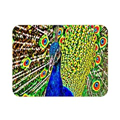 Graphic Painting Of A Peacock Double Sided Flano Blanket (Mini)