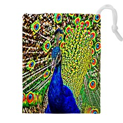 Graphic Painting Of A Peacock Drawstring Pouches (XXL)