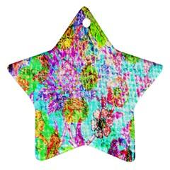 Bright Rainbow Background Ornament (Star)