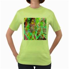 Bright Rainbow Background Women s Green T-Shirt