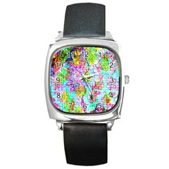 Bright Rainbow Background Square Metal Watch