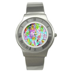Bright Rainbow Background Stainless Steel Watch