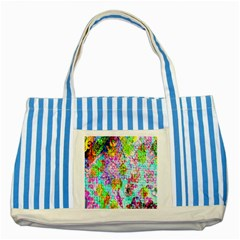Bright Rainbow Background Striped Blue Tote Bag