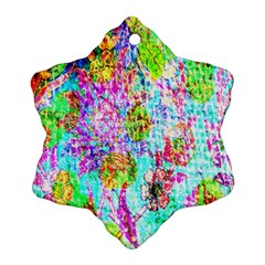 Bright Rainbow Background Snowflake Ornament (Two Sides)