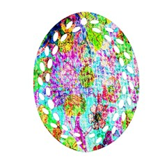 Bright Rainbow Background Oval Filigree Ornament (Two Sides)