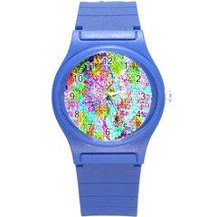 Bright Rainbow Background Round Plastic Sport Watch (s)