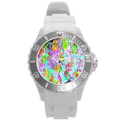 Bright Rainbow Background Round Plastic Sport Watch (l)