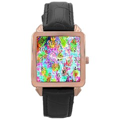 Bright Rainbow Background Rose Gold Leather Watch