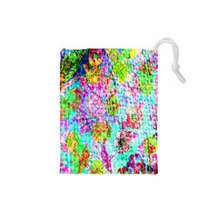 Bright Rainbow Background Drawstring Pouches (Small)