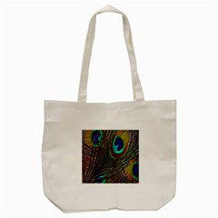 Peacock Feathers Tote Bag (Cream)