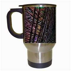 Peacock Feathers Travel Mugs (White)