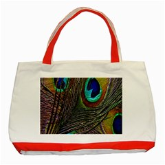 Peacock Feathers Classic Tote Bag (Red)