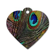 Peacock Feathers Dog Tag Heart (one Side)