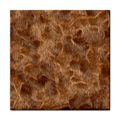 Brown Seamless Animal Fur Pattern Tile Coasters