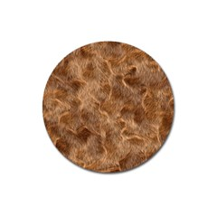 Brown Seamless Animal Fur Pattern Magnet 3  (round)