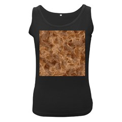 Brown Seamless Animal Fur Pattern Women s Black Tank Top