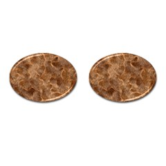 Brown Seamless Animal Fur Pattern Cufflinks (oval)