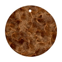 Brown Seamless Animal Fur Pattern Round Ornament (Two Sides)