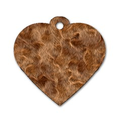 Brown Seamless Animal Fur Pattern Dog Tag Heart (one Side)